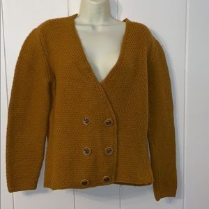 Vintage gold wool thick knit sweater jacket